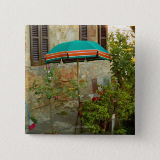 Potted plants in lawn, San Gimignano, Siena 15 Cm Square Badge