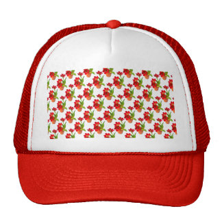 Potted Red Tulips Wallpaper Pattern Cap
