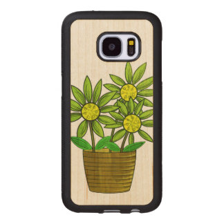 Potted Sunflowers Illustration Wood Samsung Galaxy S7 Case