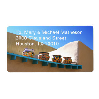 Pottery on Adobe Wall Shipping Label