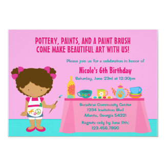 Pottery Painting Arts and Crafts Birthday Party Announcements