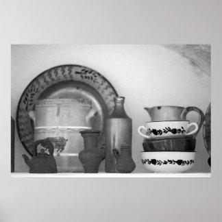 Pottery still life poster