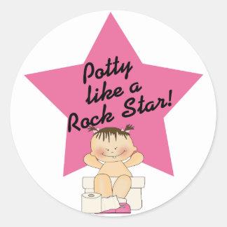 Potty Like A Rock Star Girl Round Sticker
