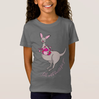 Pouch of pink hearts grey kangaroo graphic t-shirt