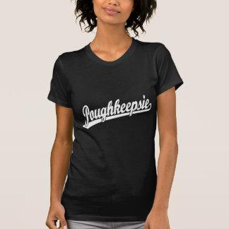 Poughkeepsie script logo in white shirt