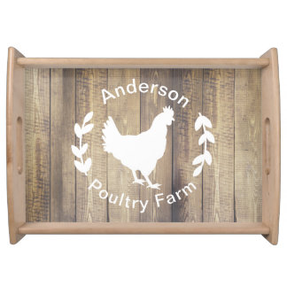 Poultry Farm Country Rustic Family Name Serving Tray