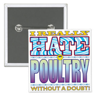 Poultry Hate Face 15 Cm Square Badge