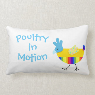 Poultry in Motion, Funny Colorful Chicken Lumbar Pillow