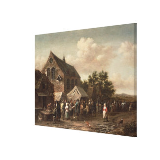 Poultry Market by a Church Canvas Print