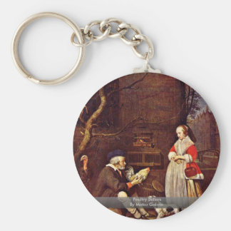 Poultry Sellers By Metsu Gabriel Basic Round Button Key Ring