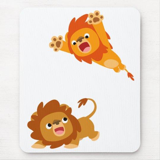Pouncing and Pounced!! Cartoon Lions Mousepad