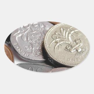 Pound coins oval sticker
