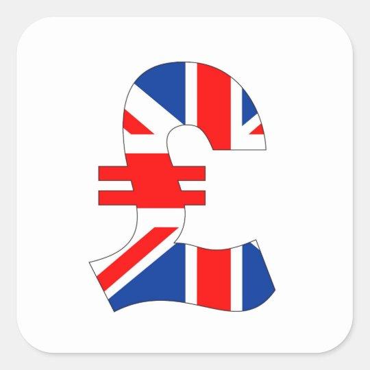 Pound Currency Symbol Money United Kingdom Flag St Square Sticker