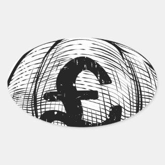 Pound Sign Burlap Sack or Money Bag Oval Sticker