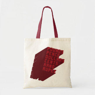 Pounds Pence Dollars Cents Rand Rupee Canvas Bags
