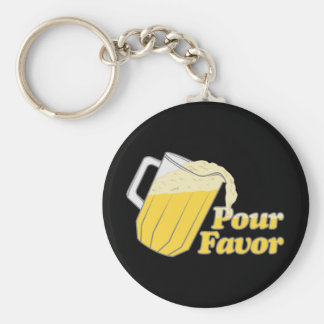 Pour Favor Beer Pitcher Basic Round Button Key Ring