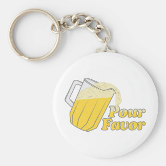 Pour Favour Beer Pitcher Basic Round Button Key Ring