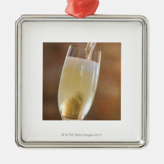 Pouring champagne Silver-Colored square decoration