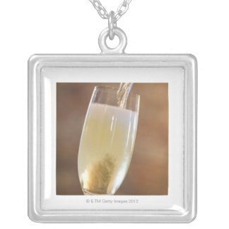 Pouring champagne silver plated necklace