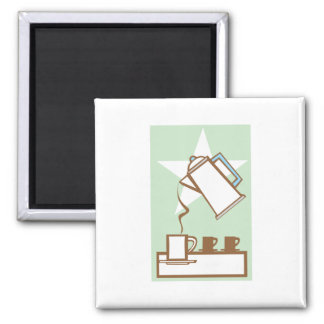 Pouring Coffee Pot #1 Square Magnet