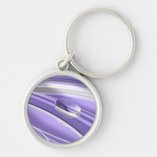 Pourple tenderness Silver-Colored round key ring