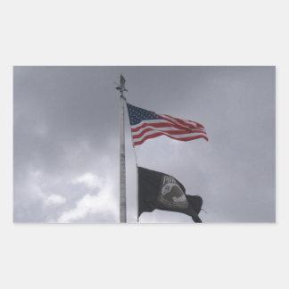 POW/MIA & American Flag Rectangular Sticker