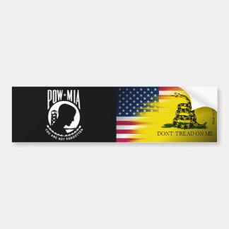POW MIA, American & Gadsden Flag Bumper Sticker