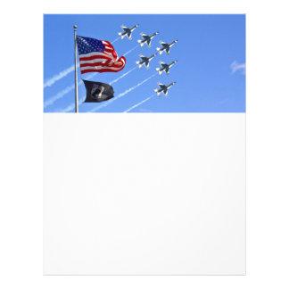 POW MIA Flag with Old Glory & The Thunderbirds 21.5 Cm X 28 Cm Flyer