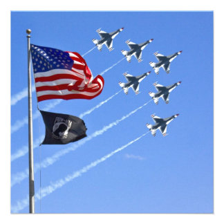 POW MIA Flag with Old Glory The Thunderbirds Personalized Invites