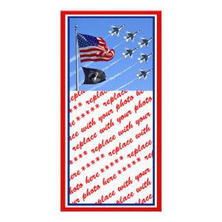 POW MIA Flag with Old Glory & The Thunderbirds Custom Photo Card