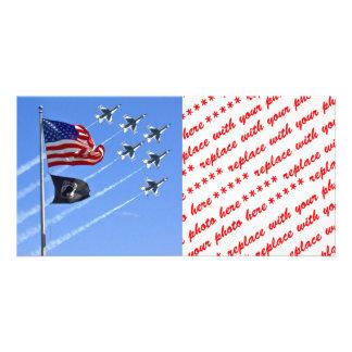 POW MIA Flag with Old Glory & The Thunderbirds Photo Greeting Card