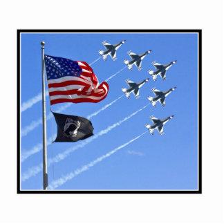 POW MIA Flag with Old Glory & The Thunderbirds Acrylic Cut Out