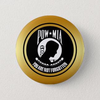 POW MIA - GOLD FRAME 6 CM ROUND BADGE