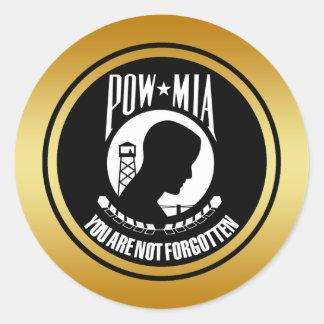 POW MIA - GOLD FRAME CLASSIC ROUND STICKER
