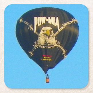 POW MIA Hot Air Balloon Square Paper Coaster