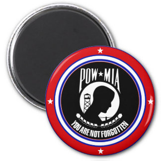 POW MIA - RED WHITE AND BLUE 6 CM ROUND MAGNET