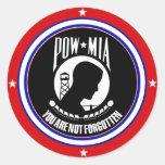 POW MIA - RED WHITE AND BLUE ROUND STICKER