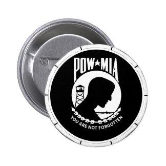 POW MIA Round - Bamboo Frame Buttons