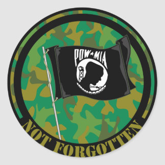 POW MIA ROUND STICKER