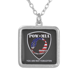 POW MIA - Shield Silver Plated Necklace
