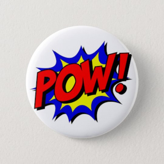 Pow! Super Hero Round Button