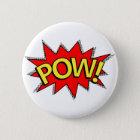 POW! - Superhero Comic Book Red/Yellow Bubble 6 Cm Round Badge