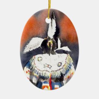 Pow wow 1 ceramic oval decoration