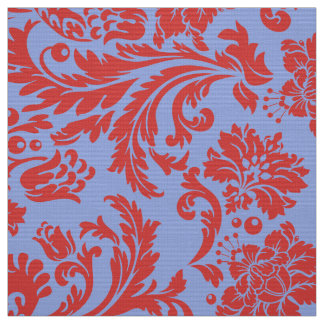 Powder blue and rust red floral damasks fabric