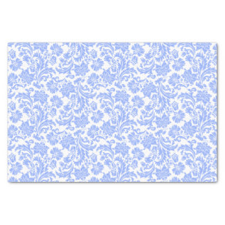 Powder Blue And White Floral Damasks Tissue Paper