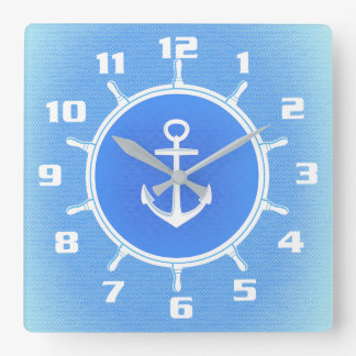 Powder Blue and White nautical anchor and wheel Clock