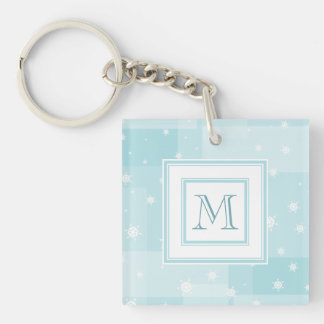 Powder Blue and White Winter Snowflakes Pattern Key Ring