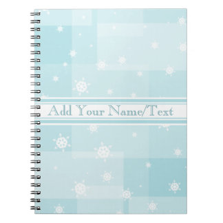 Powder Blue and White Winter Snowflakes Pattern Notebook