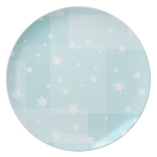 Powder Blue and White Winter Snowflakes Pattern Plate