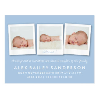 Powder Blue Birth Announcement Triple Photo Postcard